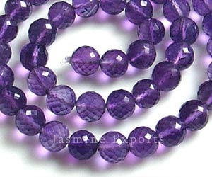 Amethyst Round Micro Faceted Gemstone Beads J Beads